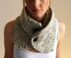 Chunky scarf cowl adjustable unisex warmer/ THE FREMONT/ Oats