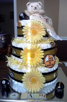 Steeler/Pittsburgh diaper cake...it's yellow and white..2 of the colors!