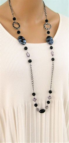 Long Black Beaded Necklace Long Gray Beaded Necklace Black
