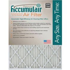 Accumulair Platinum 1 inch Air Filter, 4-Pack