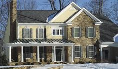 Eldorado Stone - Imagine - Inspiration Gallery - Residential - Facades.  I'd like to add stone facade like this someday.  I like how it looks to have part of the house siding and part stone.