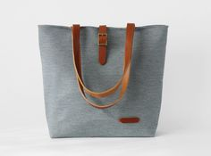 Navy stripe denim tote / Shoulder Bag / school bag