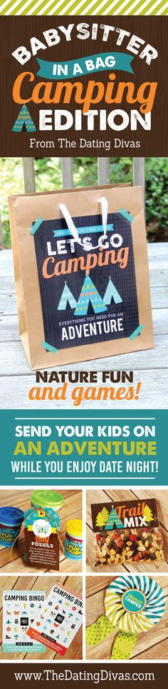 Fun nature-themed activities for kids to do with the babysitter! What a good idea! Loving this camping babysitting activity kit. www.TheDatingDivas.com