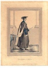 Academic Fashion Master Arts Cambridge University Harraden Antique Print