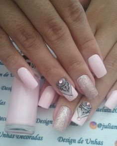 Best Nail Designs - 77 Best Nail Designs for 2018 - Best Nail Art Gorgeous Nails, Love Nails, Pretty Nails, Fun Nails, Bling Nails, Glitter Nails, French Manicure Acrylic Nails, Cute Acrylic Nails, Blue Nails