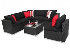 Buy Rattan Garden Furniture Sofa set - Manchester Black by DECO Alfresco in Brown from featureDECO. Rattan Garden Furniture Sofa set - Santa Maria - Brown is part of the collection. Grey Corner Sofa, Rattan Corner Sofa, Modular Corner Sofa, Modular Sofa, Outdoor Sofa Sets, Outdoor Lounge Furniture, Furniture Sofa Set, Furniture For You, Comfy Sofa