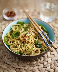Sweet Potato Noodles with Cashew Butter And Spinach. Sweet Potato Noodles with Cashew Butter and Spinach – This quick and easy Asian inspired twist on trad Cashew Butter, Butter Recipe, Vegetarian Recipes Dinner, Healthy Recipes, Vegetarian Times, Uk Recipes, Meatless Recipes, Vegetarian Food, Vegan Food