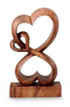 Handmade Heart Shaped Wood Sculpture - Love Blossoms | NOVICA