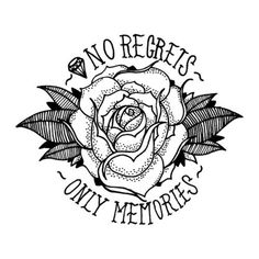 No Regrets Rose Lettering Tattoo Design | Best Tattoo Designs