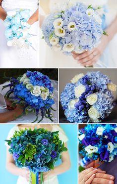 Collage mit wunderschönen Brautsträußen in Blau.
