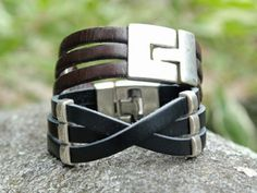 Trades of the East - Crisscross Leather and Metal Bracelet