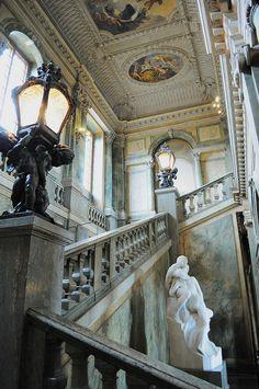 Escalier d'honneur, Palais royal, Gamla stan, Stockholm, Suède. |