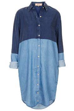 denim shirt dress with contrast panel design