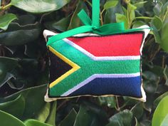 South African Flag Christmas Ornament Gift Topper by reggieana Ornament Wedding Favors, Embroidered Christmas Ornaments, South African Flag, African Christmas, Doorknob Hangers, Kona Cotton, Door Knob, Red Ribbon, Christmas Time