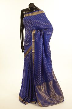 Mysore Crepe- crepe dark reynold ink blue saree with blouse