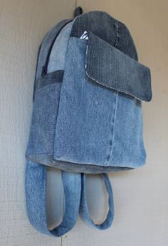 Denim Backpack with Large Front Velcro Pocket, Two Side Pockets, Two Interior Pockets with Shades of Blues Geometric Cotton Lining by AllintheJeans on Etsy