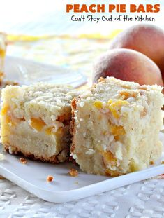 These are sensational bar-type cookies with a homemade peach pie filling in the middle! This one has a shortbread-like crust and streusel topping. Great dessert for summer holiday fun when peaches are in season. Peach Cobbler Bars, Peach Pie Bars, Peach Pie Filling, Great Desserts, Summer Desserts, Cookie Recipes, Dessert Recipes, B Recipe, Pastry Blender