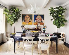 Swoon...navy table, white chairs, and patterned rug!