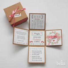 Convite Caixa para Madrinhas e Padrinhos É possível colocar presentes dentro da caixinha, como brigadeiros, bombons, etc... As cores utilizadas podem ser alteradas de acordo com o pedido do cliente.