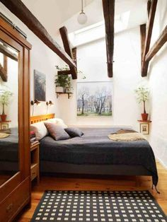 wood beams are my obsession Decor, Room, Narrow Rooms, Home N Decor, Home, Home Bedroom, Living Spaces, House Styles, Earthy Home Decor