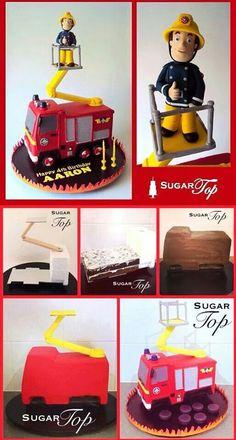 Fire engine cake Fire truck cake 193 Source by gayatrimamienya Fireman Party, Firefighter Birthday, Gravity Defying Cake, Gravity Cake, Fireman Sam Cake, Fireman Sam Birthday Cake, Fire Engine Cake, Fire Cake, Fire Fighter Cake