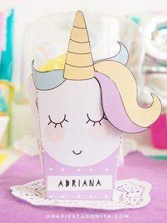 plantilla cajita unicornio fiesta