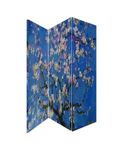 Paravan flori de migdal Van Gogh Paravan flori de migdal pictura de Van Gogh, trei panouri pe cadru de lemn acoperit cu panza canvas, imprimata cu imagine reprodusa dupa cunoscuta pictura a pictorului Vincent van Gogh