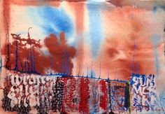 Monument Mountain - Abstract calligraphy Textual Art. Lots of Acrylic ink plus lots of water and overwritten with white gouache #textualart #abstractcalligraphy