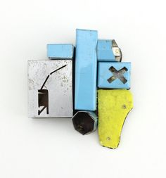 Kat Cole Jewelry - Brooch -   Steel, tin, brass, found object