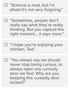 "Ahahaha ""I hope you're enjoying your chicken, Ted"" I love how out of all of the quotes from the show that they could've chosen from, they chose to add that one in XD"
