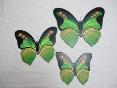Trio de borboleta G1 - Madeira