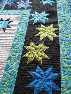 This is a Staggered Star border designed by Judy Martin for her book Pieced Borders 1995