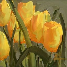 Yellow Tulips no. 14 original floral oil painting by Angela Moulton 6 x 6 inch on panel
