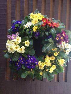Primrose wreath Casket Flowers, Funeral Flowers, Wedding Flowers, Funeral Caskets, Memorial Services, Primroses, Sympathy Flowers, Floral Wreath, Gardens