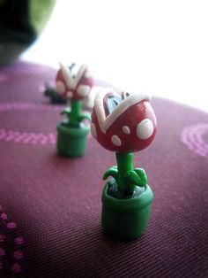 Cute Handmade Kawaii Polymer Clay Mario Piranha Plant charms. Geekery. $4.00, via Etsy.
