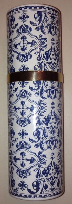 Guerlain vintage 1968 metal spray container case blue white Shalimar 6 in. 3oz. #Coty