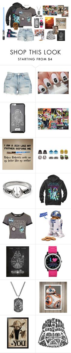 """""""May the Fourth be With You (Happy Star Wars Day!!!!!)"""" by seafire248 ❤ liked on Polyvore featuring BLANKNYC, Forever 21, like my mother, Fifth Sun, Topshop, R2 and York Wallcoverings"""