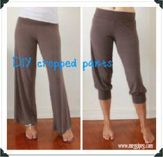 meggipeg: Quick fixes: turn long pants into cropped cuties - a tutorial. cute lounge around the house pants Sewing Hacks, Sewing Tutorials, Sewing Patterns, Long Pants, Cropped Pants, Sweat Pants, Knit Pants, Harem Pants, Baggy Sweatpants