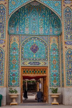 Mosaic Turquoise Blues Tiled Gateway to the shrine of Imamzadeh Jafar in Yazd Iran Persian Architecture, Beautiful Architecture, Beautiful Buildings, Art And Architecture, Architecture Details, Cultural Architecture, Architecture Portfolio, Futuristic Architecture, Style Oriental