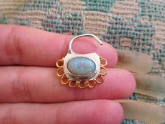 Gemstone and solid silver septum ring with 22k gold by KresnaDhana