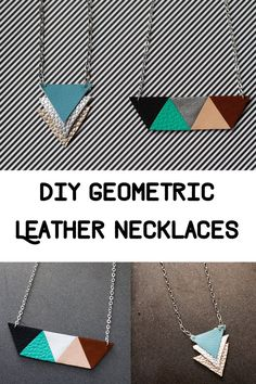 DIY Geometric Leather Necklaces. DIY jewellery making from thimbleandtwig.com Things to make with scraps of leather. Handmade jewellery ideas.