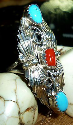 On SALE 15% off + free shipping: LG Vintage Estate Old Pawn Sterling Navajo Long Ring Turquoise Red Coral Sz 6.75 $191.21 Incredible sterling silver work in this one-of-a-kind-ring. Grab this one.