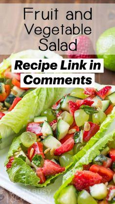 Vegetable Salad Recipes, Raw Food Recipes, Vegetarian Recipes, Cooking Recipes, Healthy Recipes, Vegan Vegetarian, Chicken Recipes, Salads To Go, Summer Salads