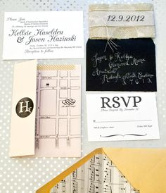 Black and White Music Inspired Letterpress Wedding Invitations by One & Only featuring Lokta paper belly band