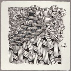 https://flic.kr/p/vnzTez | A tile from CZT 20 | Using the tangle pea-nuckle. This tangle and I aren't good friends yet but will not give up on it.
