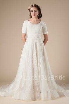 Modest Long Sleeved Wedding Dresses With Lace And Chiffon Skirt Latter Day Bride