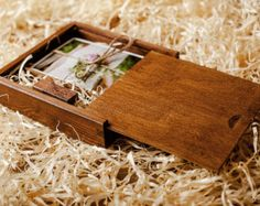 Wooden Box For Prints + USB flashdrive | 8 GB | Packaging For Wedding Photographers | Color - Dark Wood