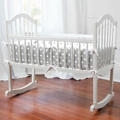 Gray and White Dots and Stripes Cradle Bedding | Carousel Designs