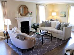 Living room rug option- love it all! Formal Living Rooms, Rugs In Living Room, Home And Living, Living Room Decor, Living Spaces, Dining Room, Cheap Furniture, Den Furniture, White Furniture