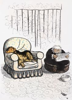 'In The Dog Basket' by Carl Ronald Giles (1916-1995). Often referred to simply as Giles, a cartoonist best known for his work for the British newspaper the Daily Express.